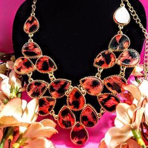 Pink & Black Cheetah Print Necklace